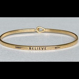 Believe inspired. thin hook bangle bracelet